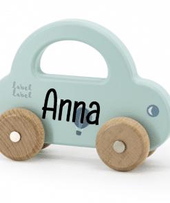 Label Label - Kleine Auto Groen - met naam - Gepersonaliseerd cadeau - Naam cadeau - Kraam cadeau - Geboorte cadeau - Gepersonaliseerd speelgoed
