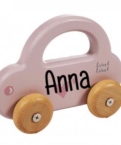 Label Label - Kleine Auto Roze - met naam - Gepersonaliseerd cadeau - Naam cadeau - Kraam cadeau - Geboorte cadeau - Gepersonaliseerd speelgoed