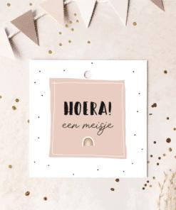 Hoera! een meisje|| Kadokaartje