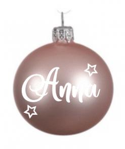 Kerstbal roze| Gepersonaliseerd met naam - baby's eerste kerst - Gepersonaliseerde kerstbal - Cadeau met naam - Kerstcadeau