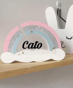 Regenboog spaar pot - Gepersonaliseerd met naam - Naam cadeau - Kraam cadeau - Geboorte cadeau - Gepersonaliseerd speelgoed