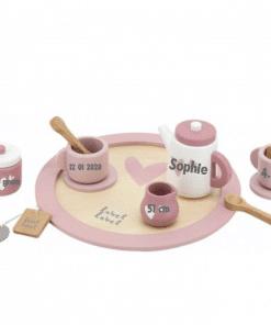 Label Label - theeservies - Gepersonaliseerd met naam en geboorte gegevens - Kraam cadeau - geboorte cadeau - gepersonaliseerd speelgoed